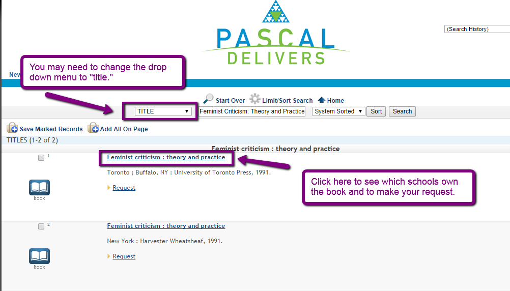 "Pascal Delivers search screen. You should type in the same title you searched for in the Classic Catalog and change the drop down next to the search box to ""Title."""