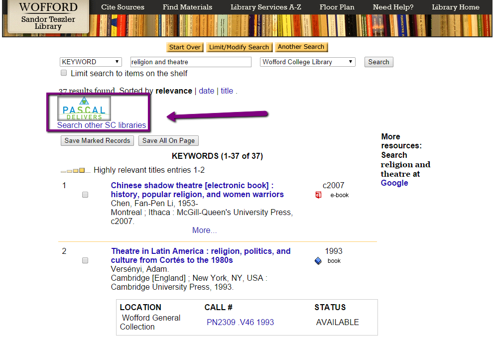 Image of a Classic Catalog search results page, with the location of the Pascal Delivers button in the upper left corner highlighted.