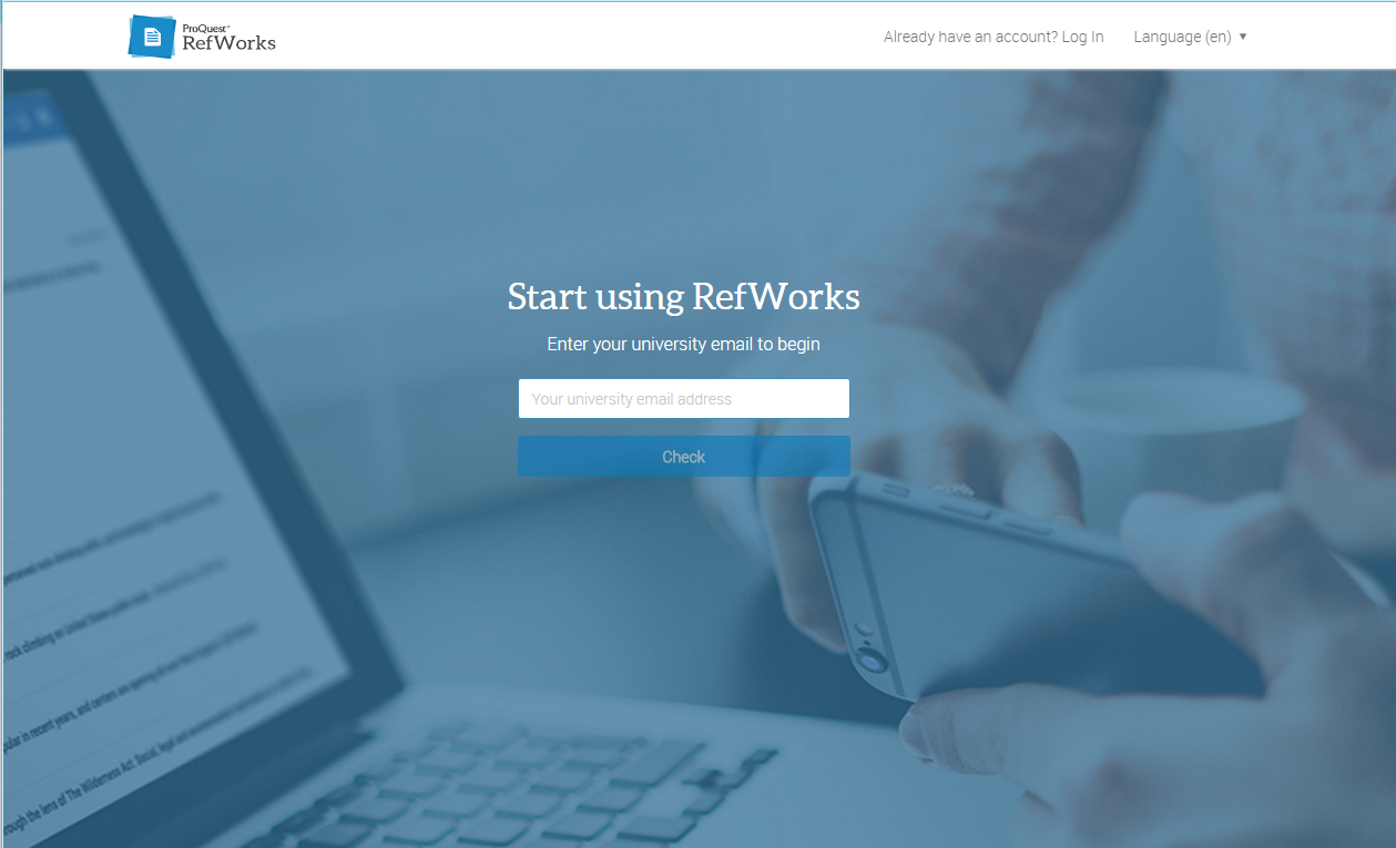 ProQuest RefWorks signup page
