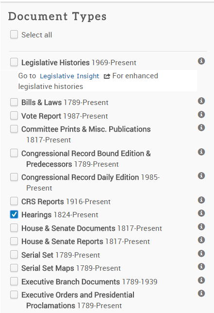 hearings on the advanced search page