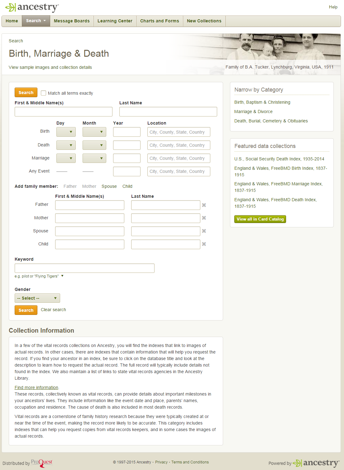 Image of Birth, Marriage, and Death search page in Ancestry Library Edition