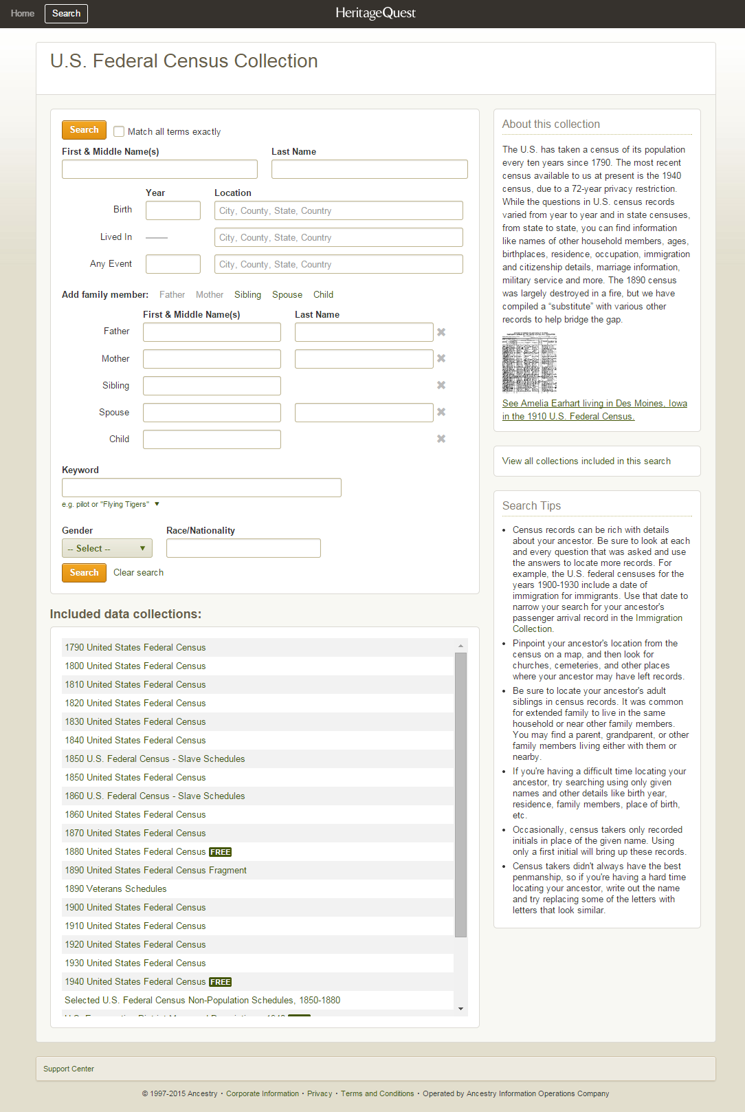 Census Search HeritageQuest Online LibGuides At ProQuest - Map guide to the us federal censuses 1790 1920