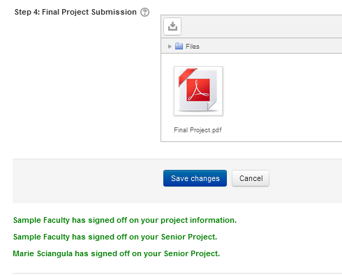 "Moodle Senior Project submission page with text that reads ""Sample faculty has signed off on your project information. Sample faculty has signed off on your Senior Project. Marie Sciangula has signed off on your Senior Project""."
