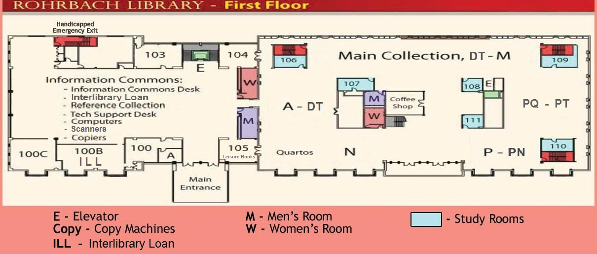 First Floor plan of Rohrbach Library