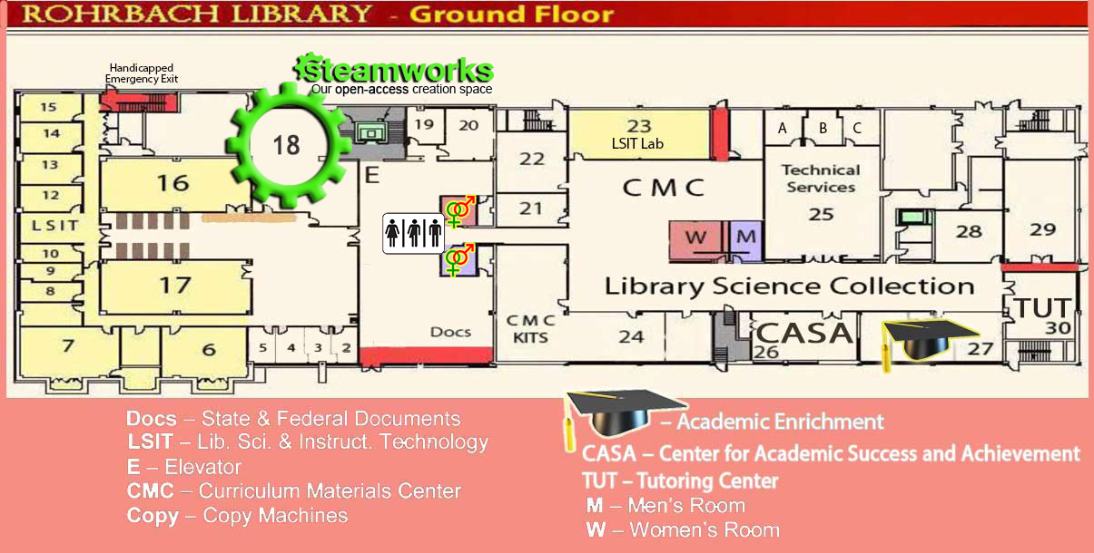 Ground Floor plan of Rohrbach Library