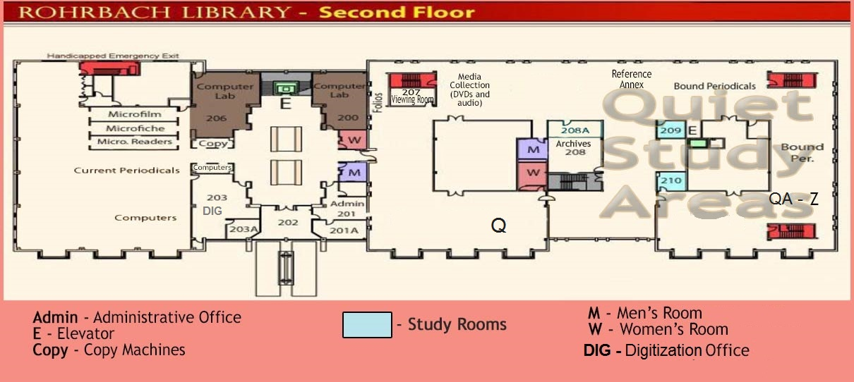 Second Floor plan of Rohrbach Library