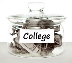 Jar of cash for college