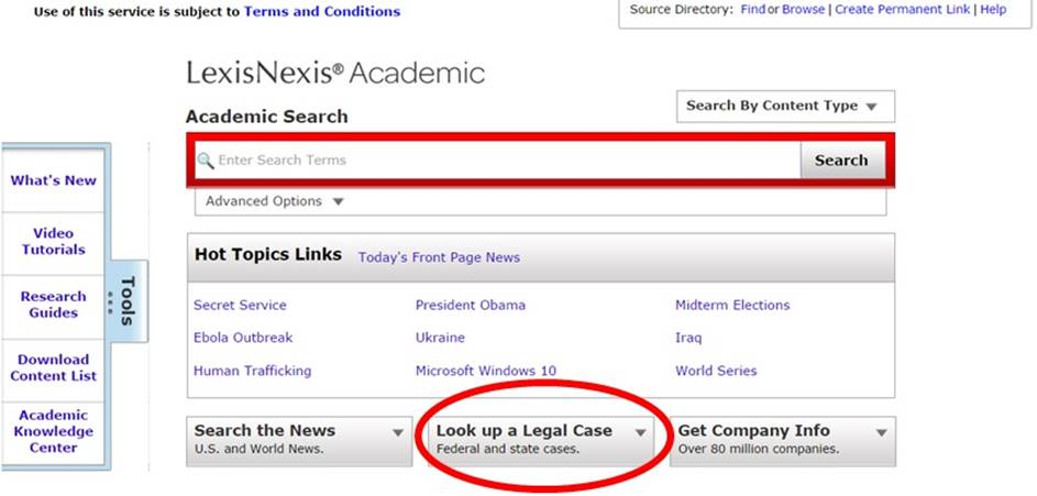 LexisNexis Academic search screen