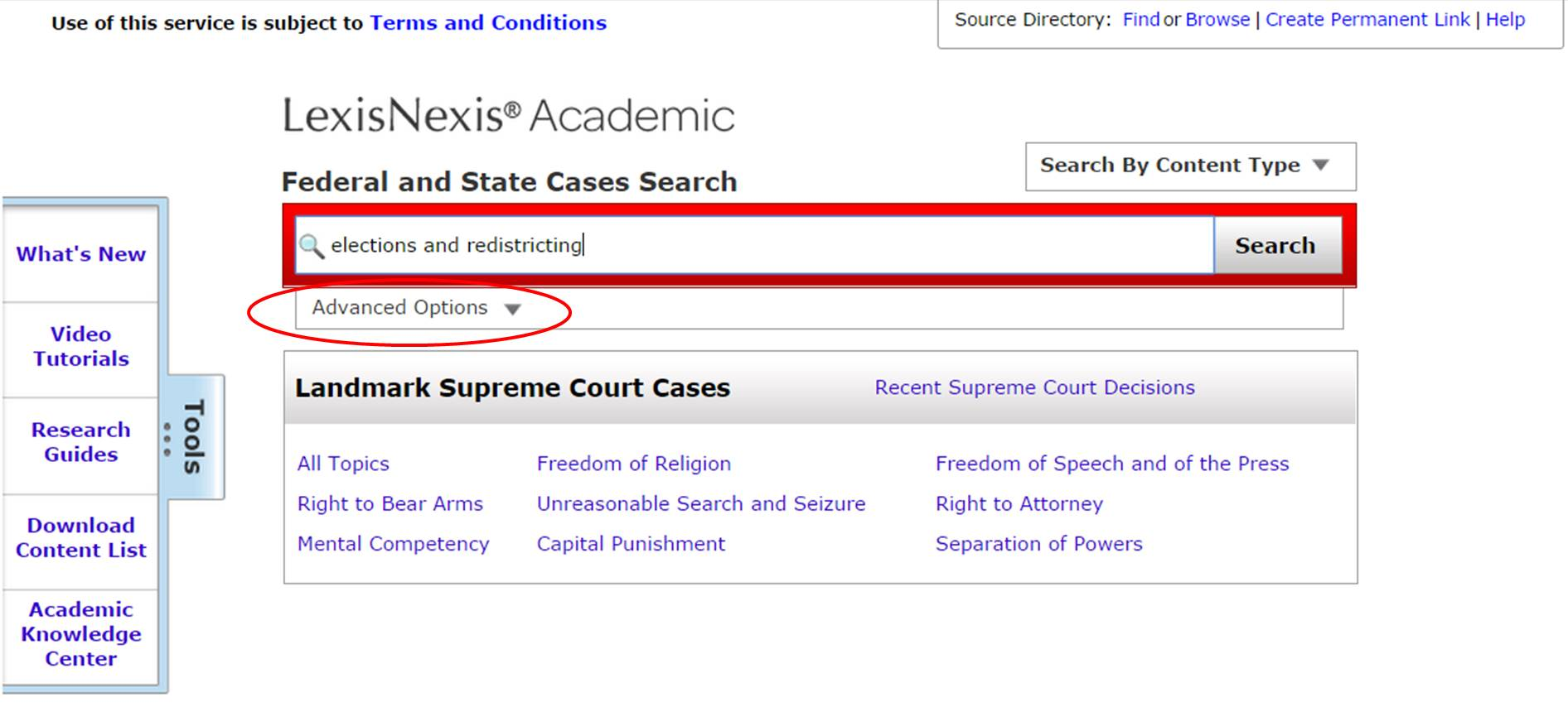 LexisNexis case search screenshot