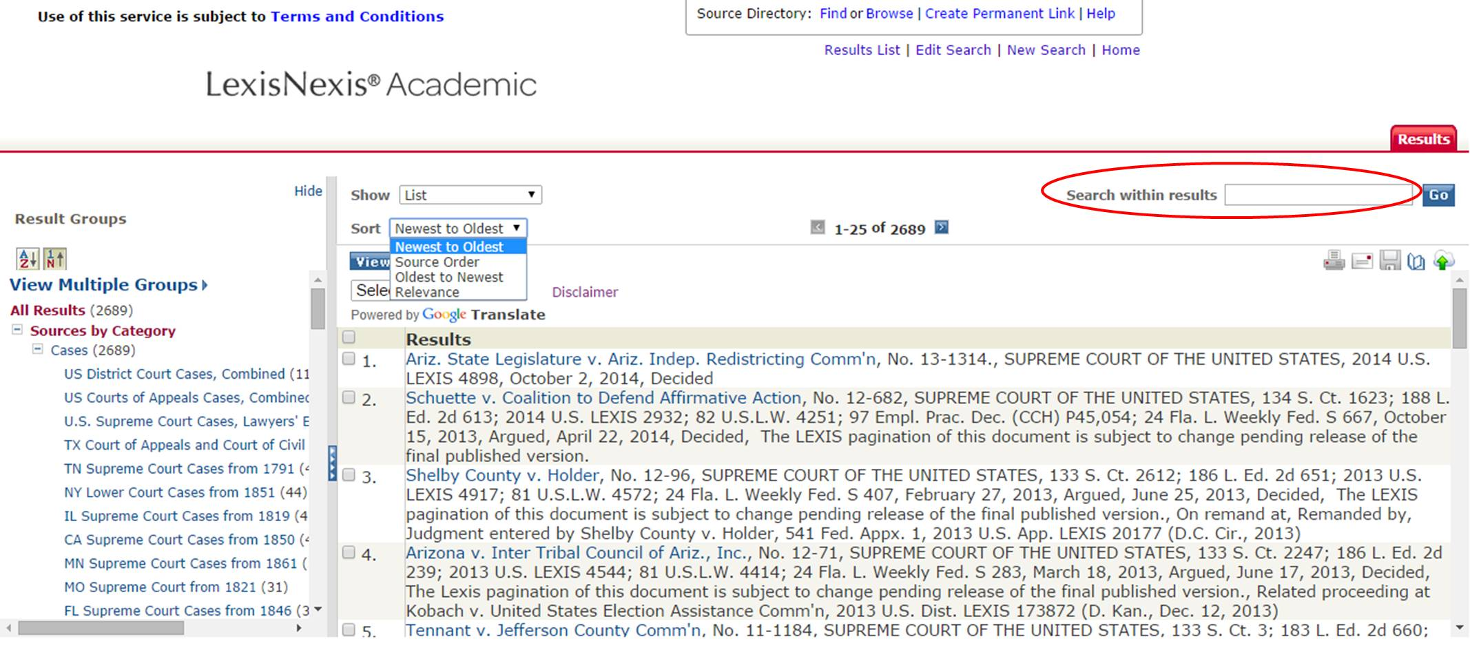 LexisNexis Academic results list screenshot