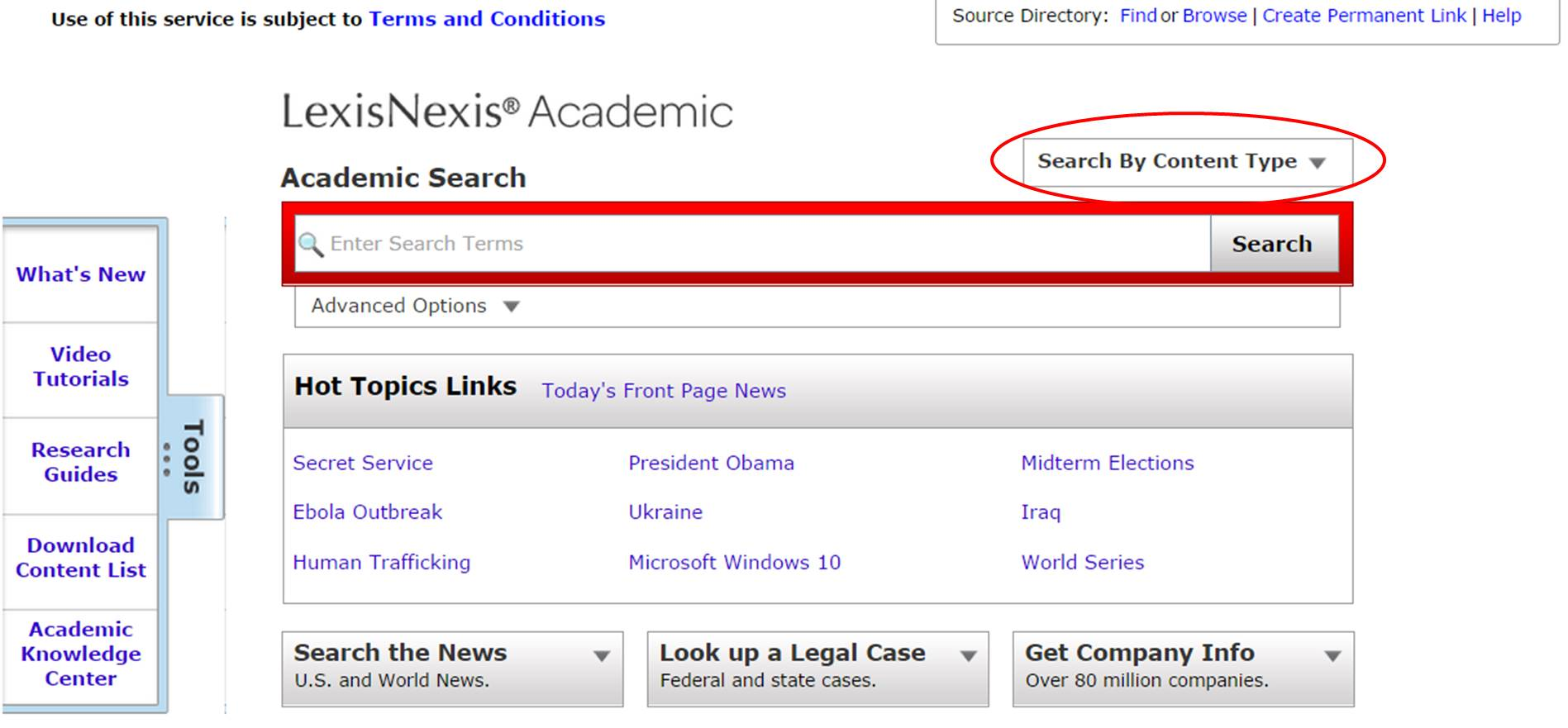 LexisNexis search screen screenshot
