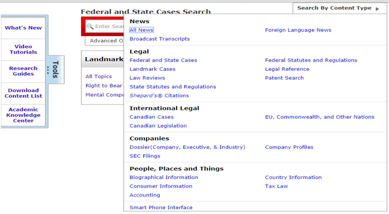 LexisNexis Search by Content Type screenshot