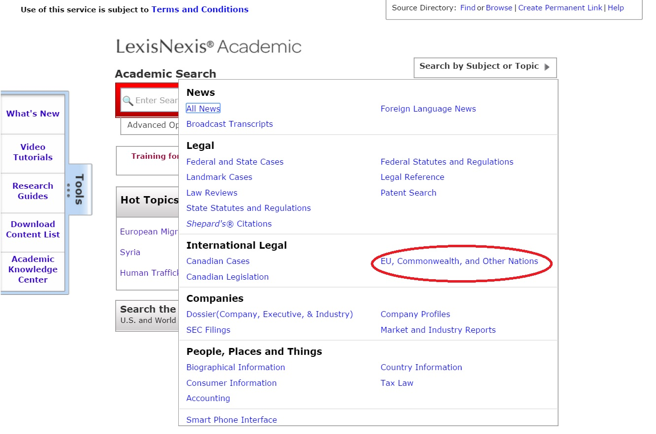 LexisNexis Academic search drop down screenshot