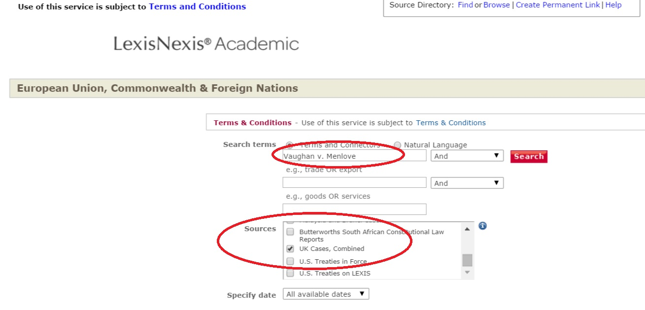 LexisNexis Academic EU & Commonwealth search screenshot