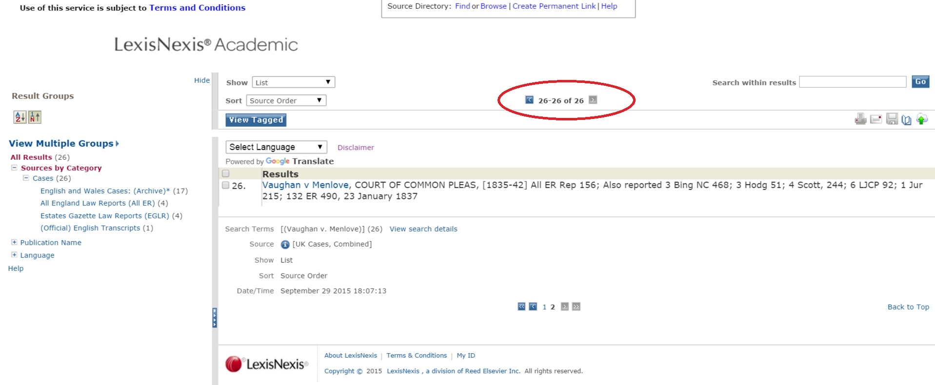 LexisNexis Academic search results screenshot