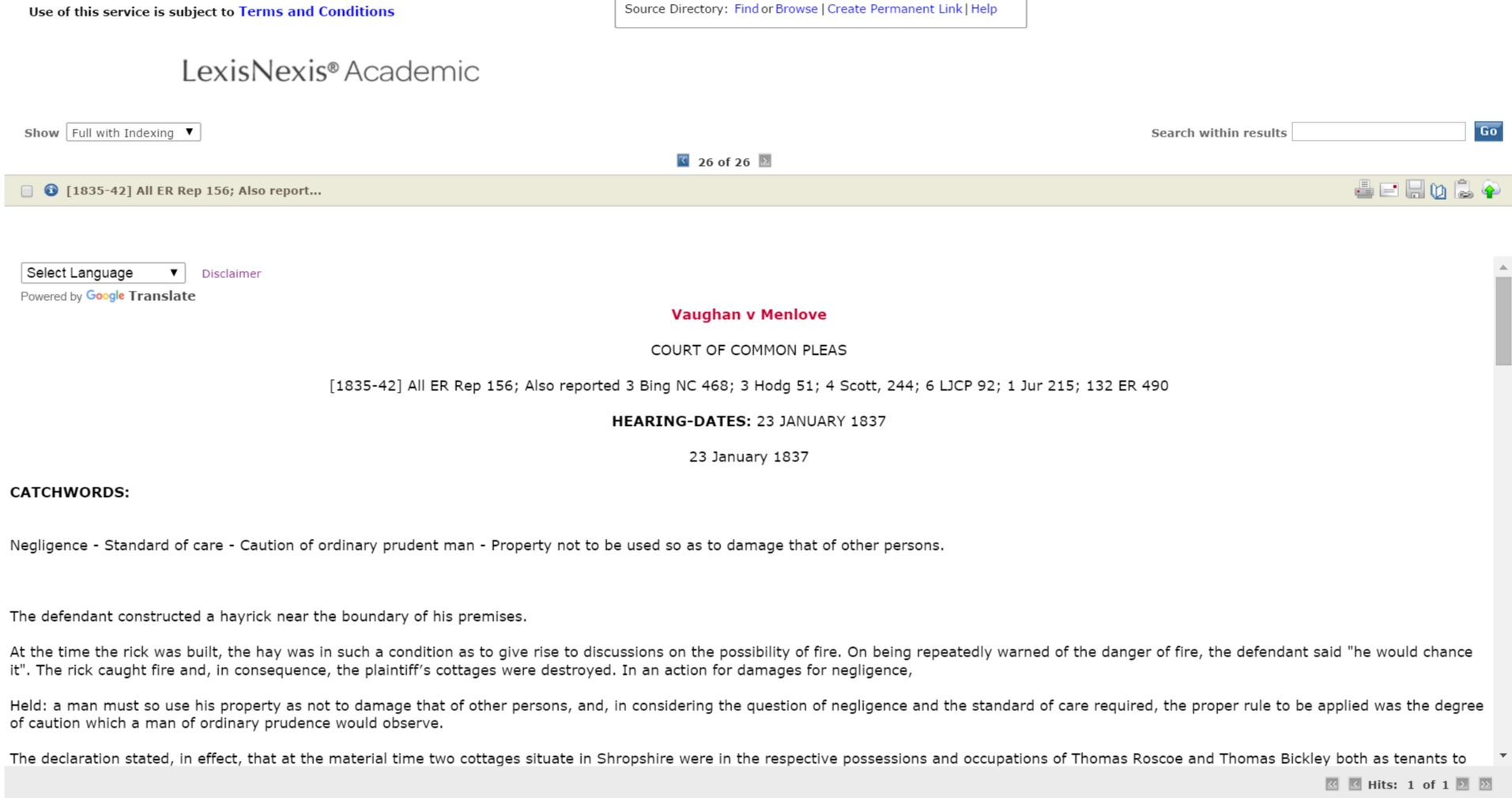LexisNexis Academic British case screenshot