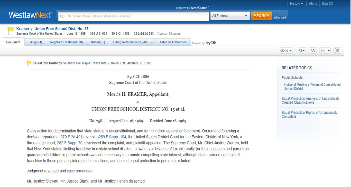 Westlaw case screen