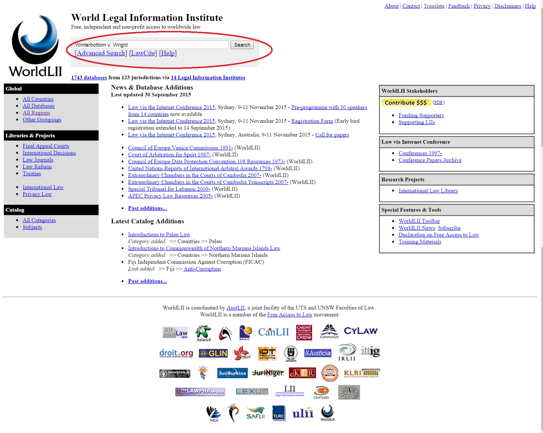 World Legal Information Institute (LII) search screen
