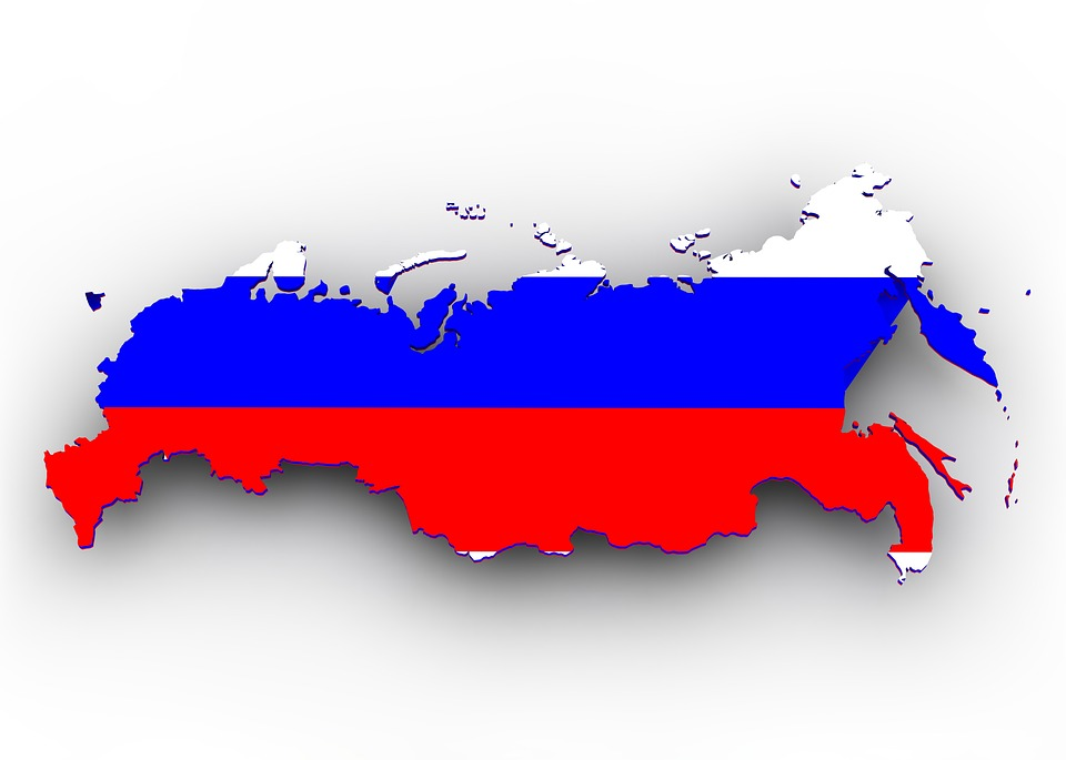 Russia map as flag