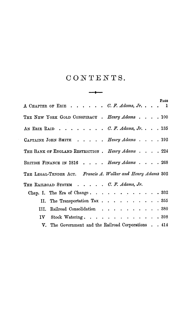 Chapters on Erie Table of Contens from The Making of America database of primary sources