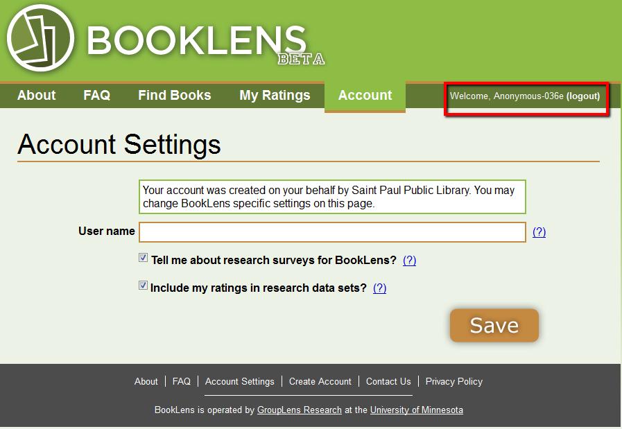 BookLens Account Settings