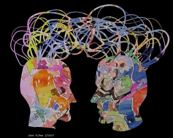 decorative image of heads together communicating thoughts
