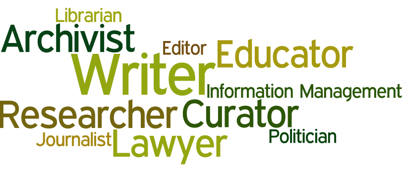word cloud containing possible careers related to history