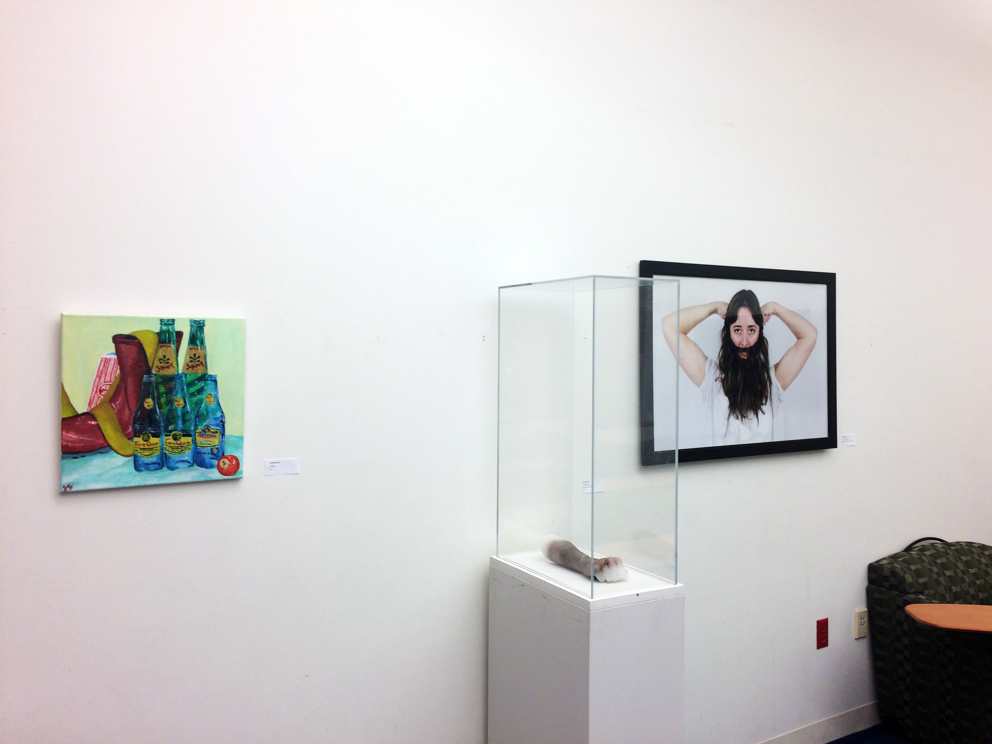 "(l-r) ""Untitled"" by Jeanette Zavala, ""Mutant Strength"" and ""Beard Measuring Contest"" by Natalie McLaurin"