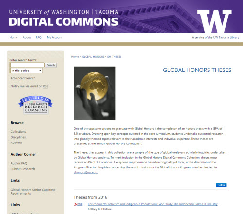 Global Honors Theses Screenshot