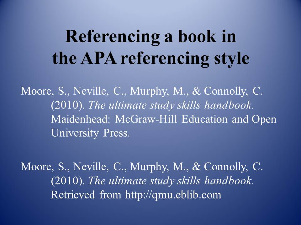 How to reference a book in APA style