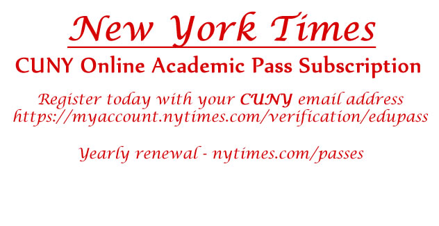 Flyer for New York Times Academic Pass