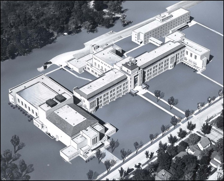 Architect's rendering of new Alverno campus depicting original buildings
