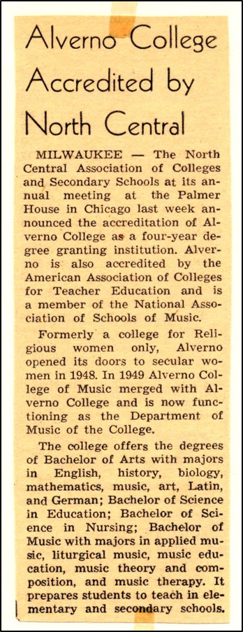 April 7, 1951 Catholic Herald Citizen article on Alverno's accreditation by NCA