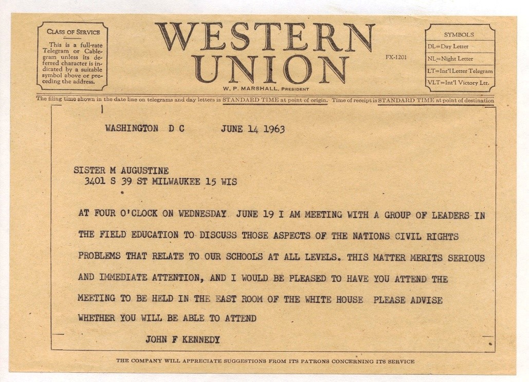 Telegram from JFK to Sister Augustine inviting her to a meeting