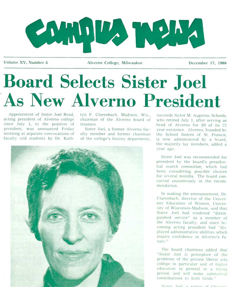 Alverno Campus News, December 17, 1968 p. 1