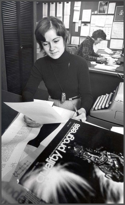Karen Gebarski at her intership site, Fall 1972