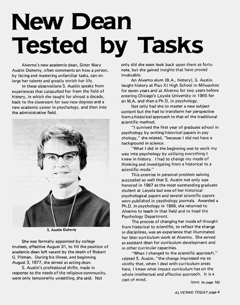 Article about Sister Austin Doherty when she became Academic Dean in 1978