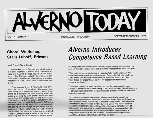 September-October 1973 Alverno Today article on the launch of ability based learning at Alverno