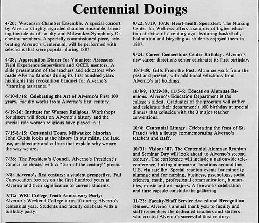 Centennial Events listed in Alverno Magazine 1987