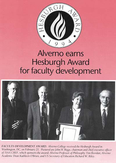 Hesburgh Award announcement from March 1994 Alverno Today