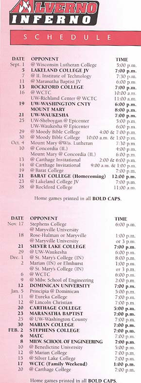 First Alverno Inferno Season Schedule, 2000