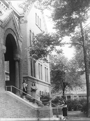 Laywomen on the steps of the SSSF Motherhouse late 1940's