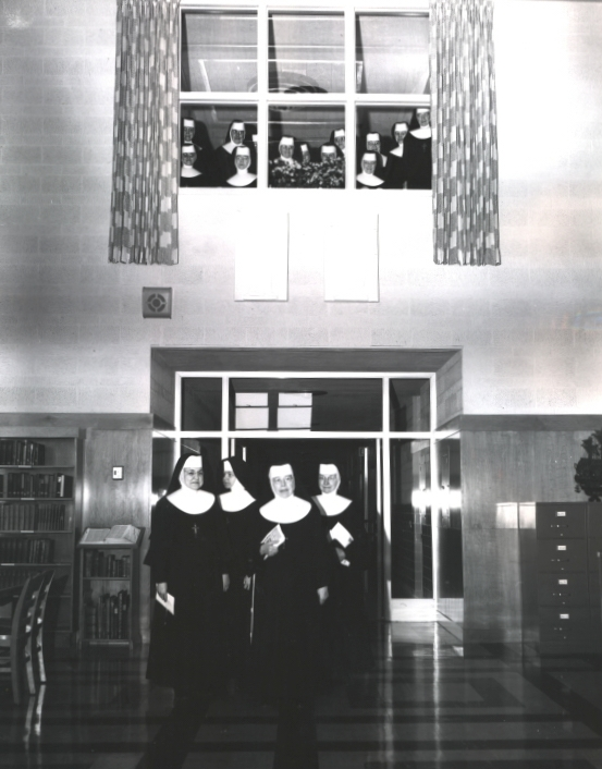 Library entrance during dedication festivities-April 21, 1954