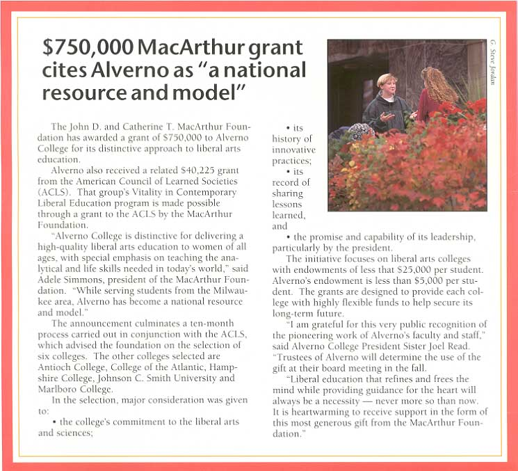 Article from the June 1996 issue of Alverbno Magazine about Alverno's MacArthur grant