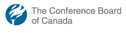 Logo of the Conference Board of Canada: a white flaming torch on blue circl.