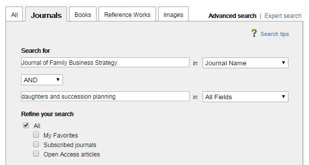 how to search academic journals