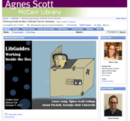Screenshot of Agnes Scott's Libguides: Working inside the Box lib guide