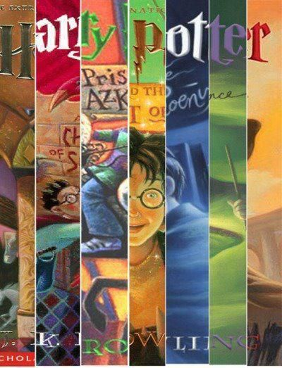 montage of harry potter book covers