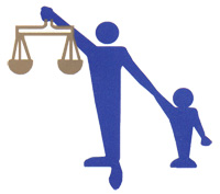 Clip art of an adult holding the scales of justice in one hand and the hand of a young child in the other.