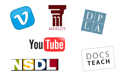 icons for Vimeo Merlot Digital Public Library of America YouTube National Science Digital Library and Docs Teach